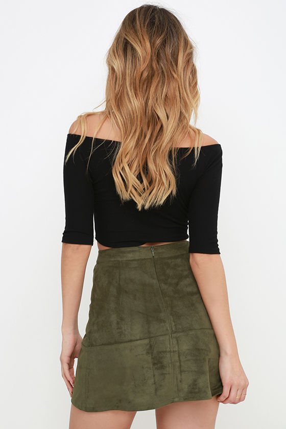 Suede Skirt - Olive Green Skirt - Mini Skirt - High-Waisted Skirt ...