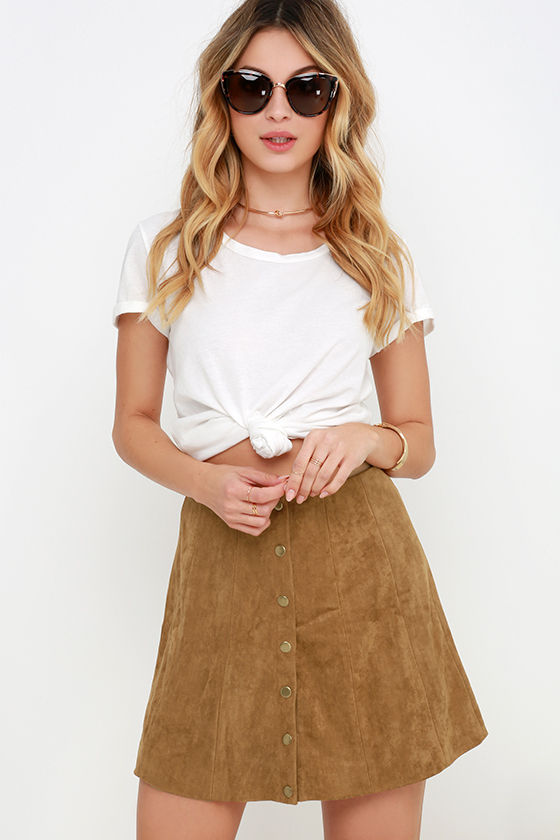 Cute Tan Suede Skirt - A-Line Skirt - Button Front Skirt - $49.00
