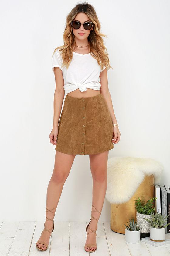 Cute Tan Suede Skirt - A-Line Skirt - Button Front Skirt - $49.00
