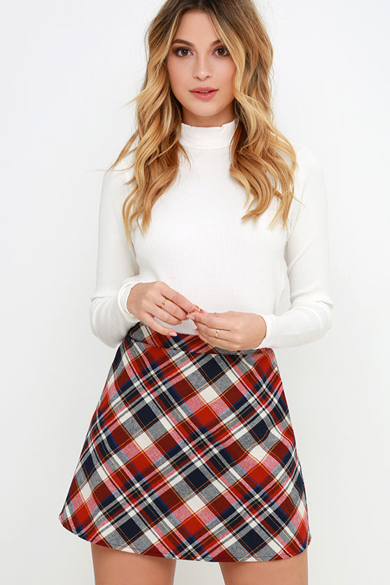Sweet Red Plaid Skirt - High-Waisted Skirt - Mini Skirt - $34.00
