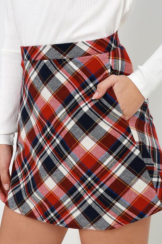 Sweet Red Plaid Skirt High Waisted Skirt Mini Skirt