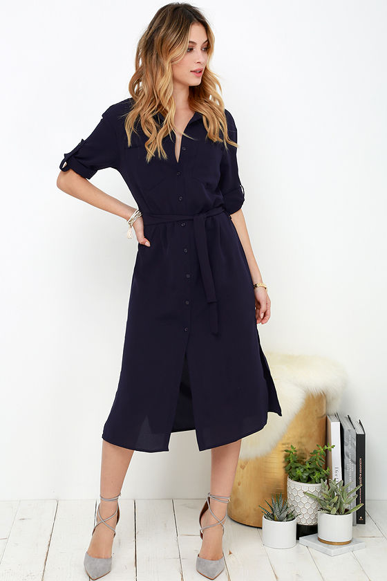 Chic Navy Blue Dress - Shirt Dress - Belted Dress - $86.00