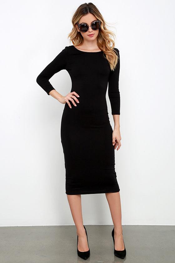 True To You Black Midi Dress 3