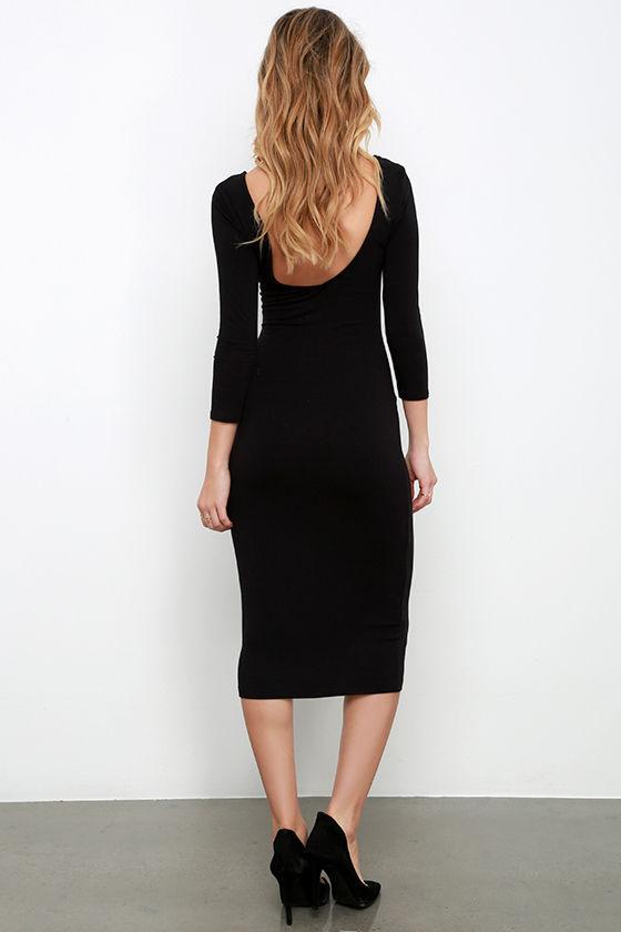 True To You Black Midi Dress 4