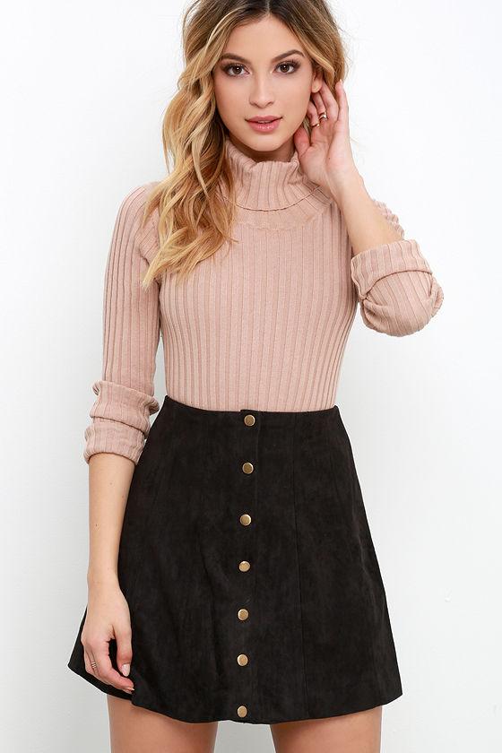 cd1eebb9f4 Cute Black Suede Skirt - A-Line Skirt - Button Front Skirt - $49.00