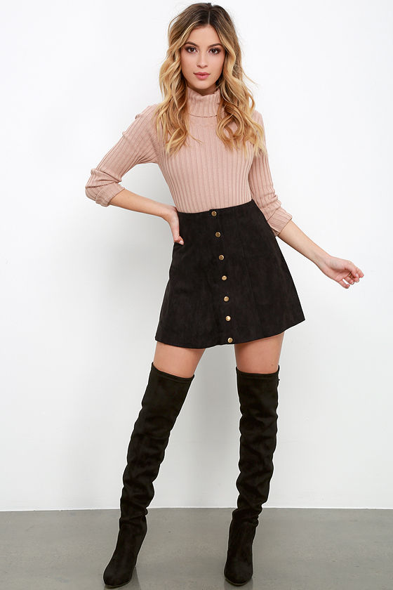 Cute Black Suede Skirt - A-Line Skirt - Button Front Skirt - $49.00