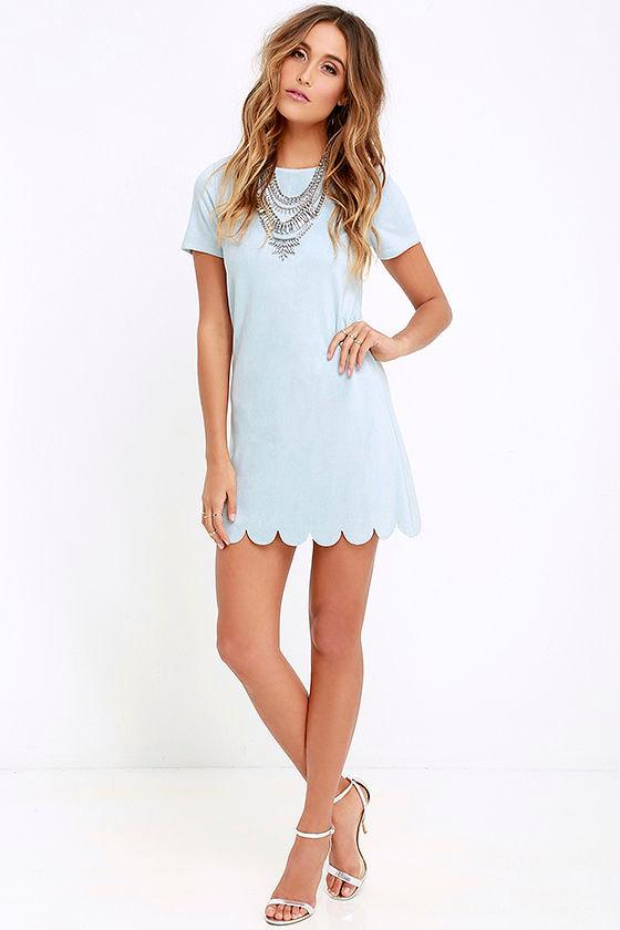 303419baf94 Chic Light Blue Suede Dress - Shift Dress - Scalloped Dress -  58.00