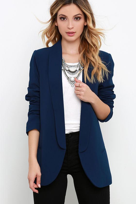 navy blue blazer long sleeve top jacket. Black Bedroom Furniture Sets. Home Design Ideas