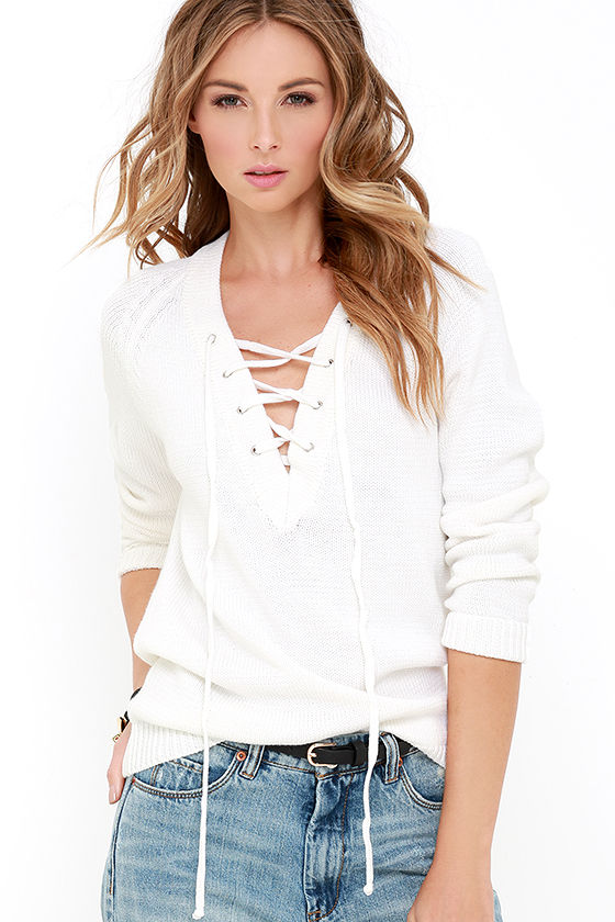 Cute Cream Sweater - Lace-Up Sweater - Knit Sweater - $49.00