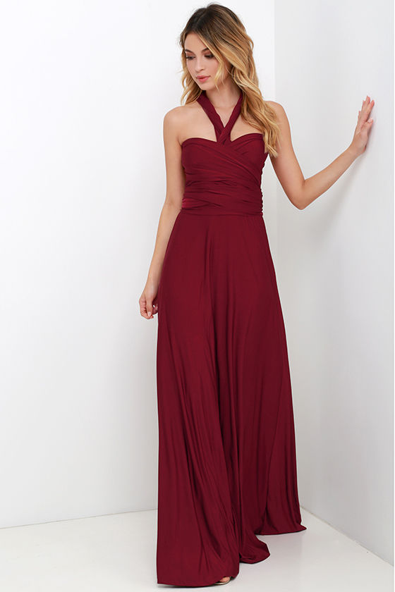 Always Stunning Convertible Burgundy Maxi Dress 1