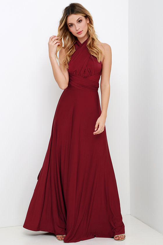 Always Stunning Convertible Burgundy Maxi Dress 2