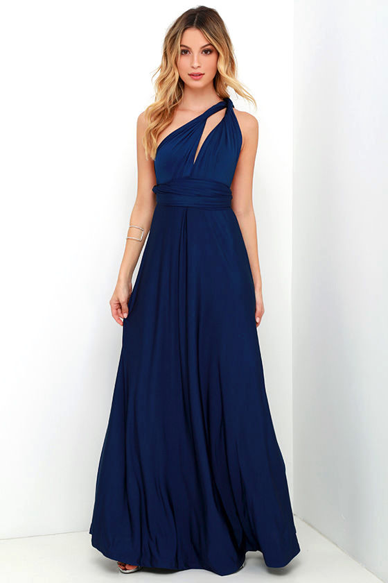 Pretty Maxi Dress Convertible Dress Navy Blue Dress