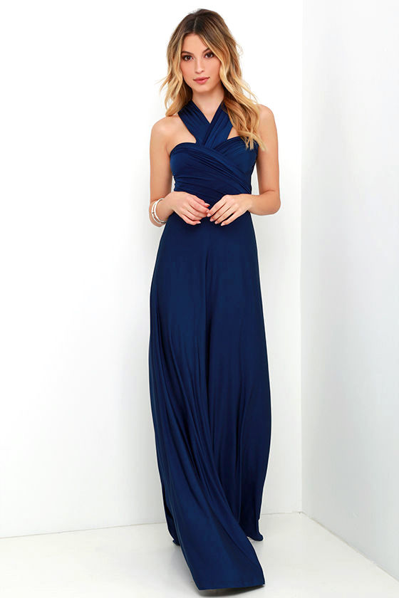Pretty Maxi Dress - Convertible Dress - Navy Blue Dress - Infinity ...