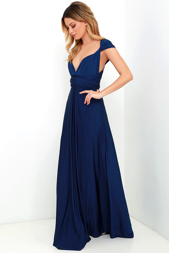 Always Stunning Convertible Navy Blue Maxi Dress 3