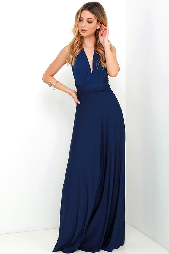 Pretty Maxi Dress - Convertible Dress - Navy Blue Dress - Infinity ...