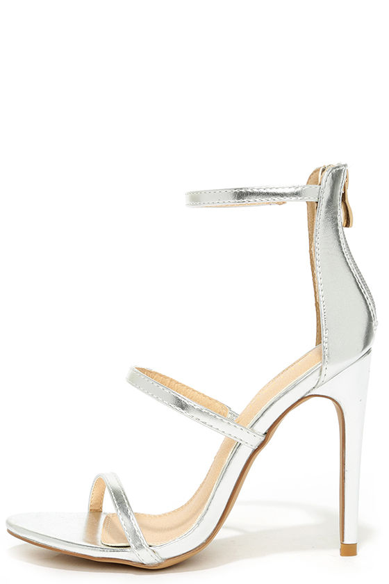 Sexy Silver Heels - Dress Sandals - High Heel Sandals - $32.00