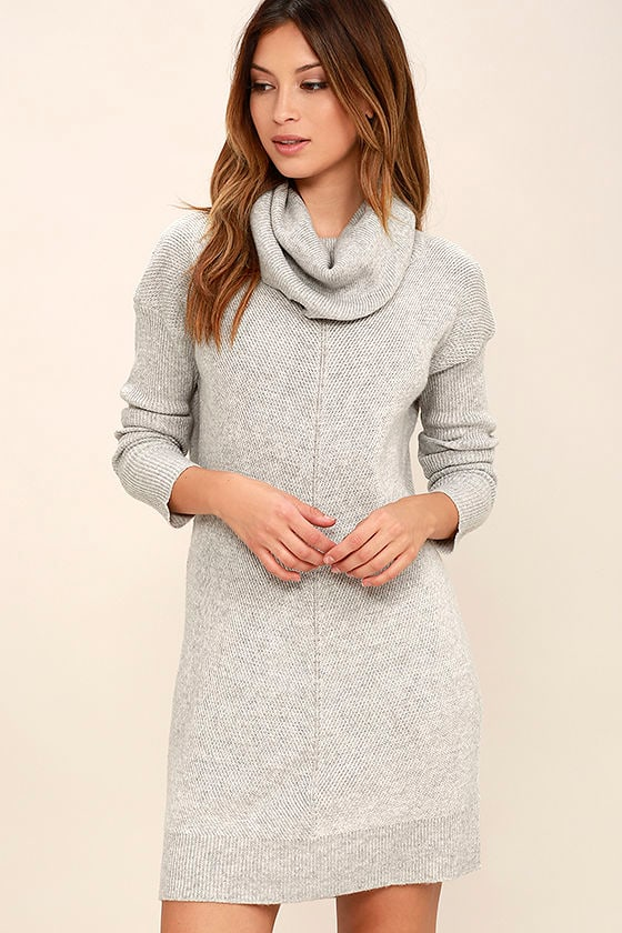 Cute Grey Dress - Knit Dress - Cowl Neck Dress - Long Sleeve Dress ...