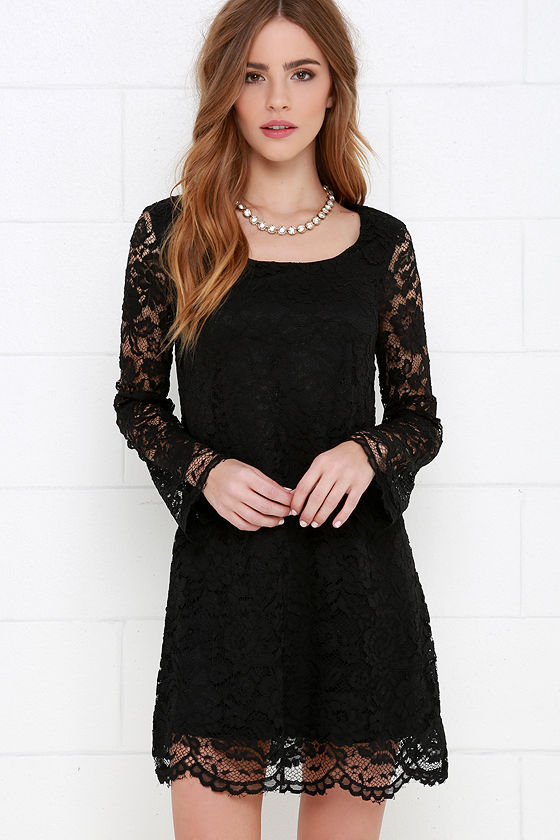 Black Dress - Long Sleeve Dress - Lace Dress - Shift Dress - $56.00