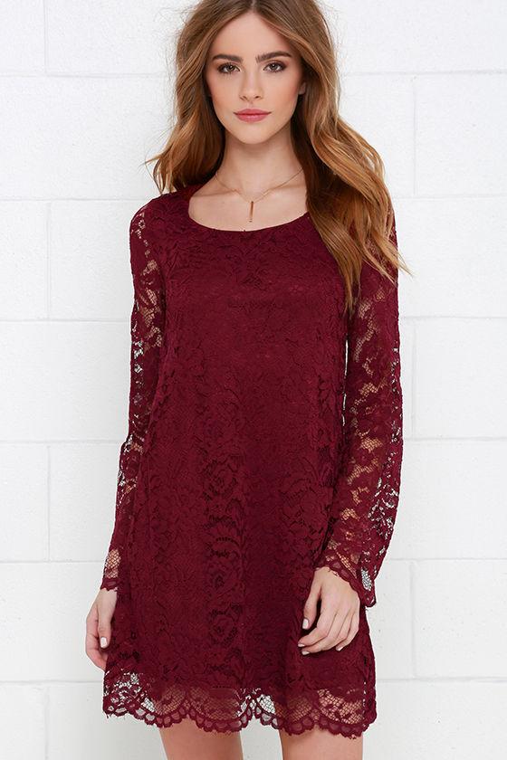 Burgundy Dress - Long Sleeve Dress - Lace Dress - Shift Dress - $56.00