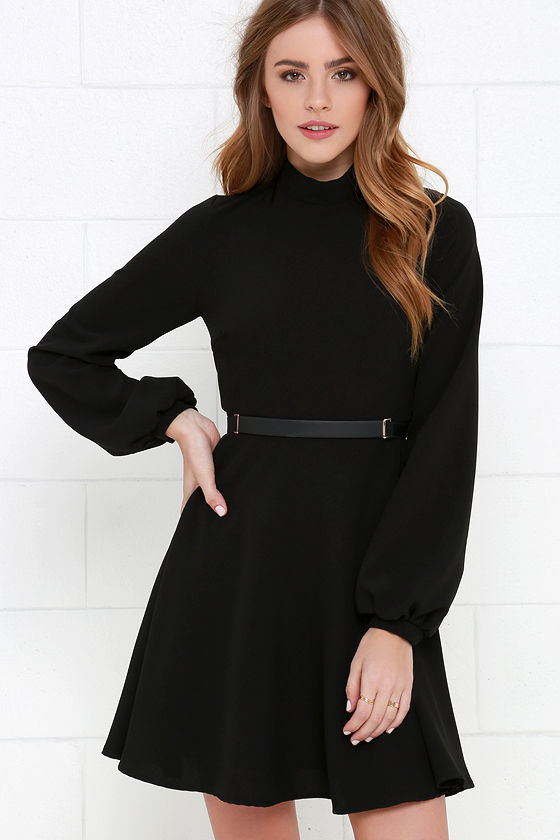 Fun Black Dress - Long Sleeve Dress - Fit-and-Flare Dress - $56.00