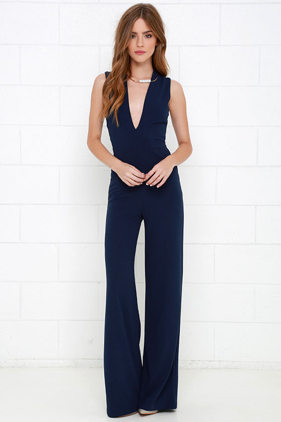 Sexy Navy Blue Jumpsuit - Sleeveless Jumpsuit - $49.00