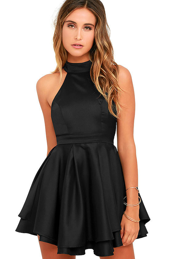 Cute Black Skater Dress - LBD - Homecoming Dress $59.00