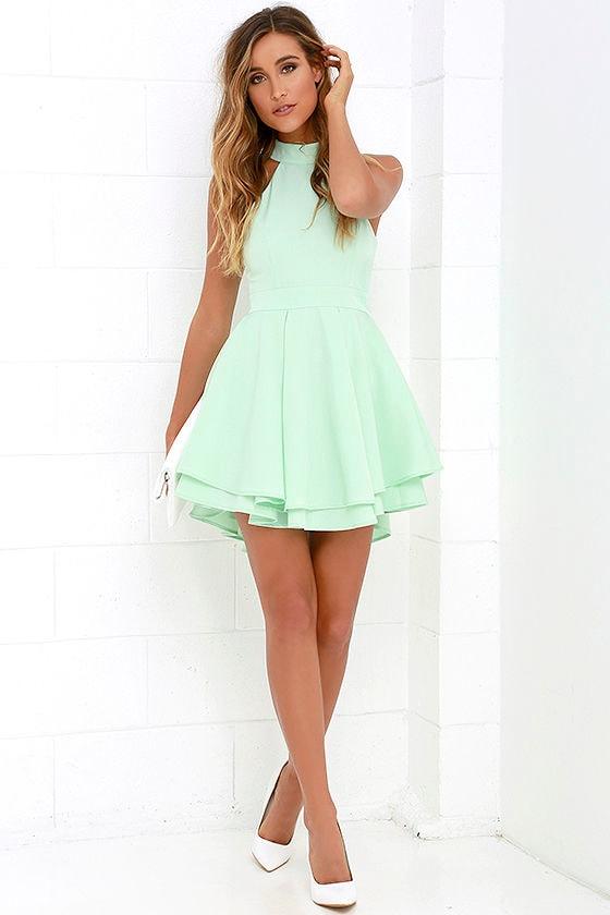 cute mint green dress skater dress backless dress 5900