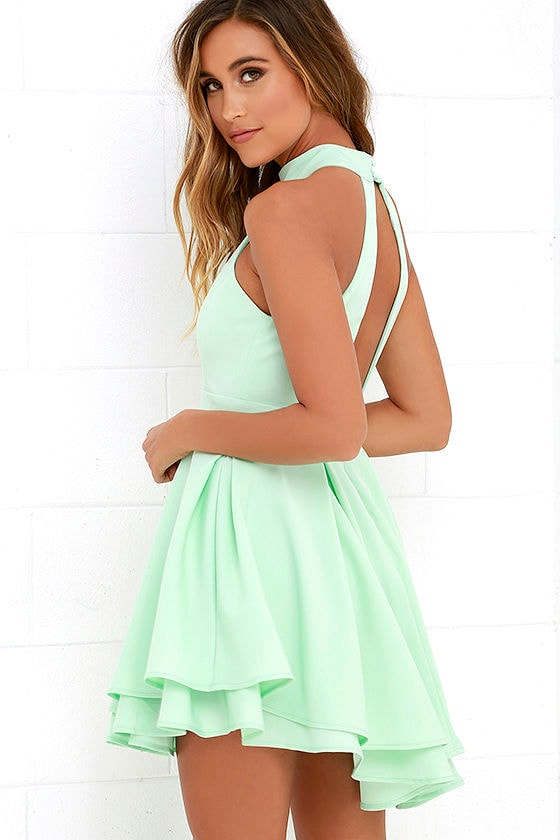 Cute Mint Green Dress Skater Dress Backless Dress 59 00