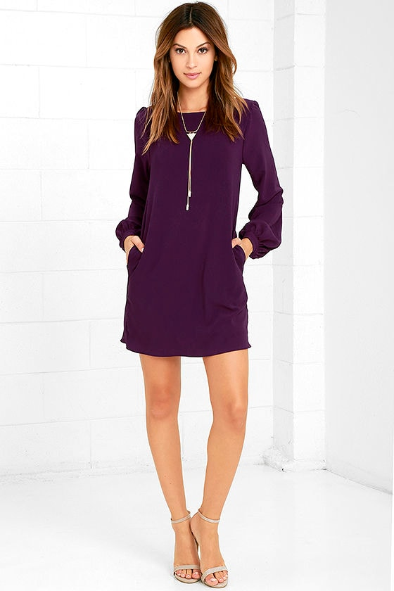Cute Purple Dress - Shift Dress - Long Sleeve Dress - $38.00