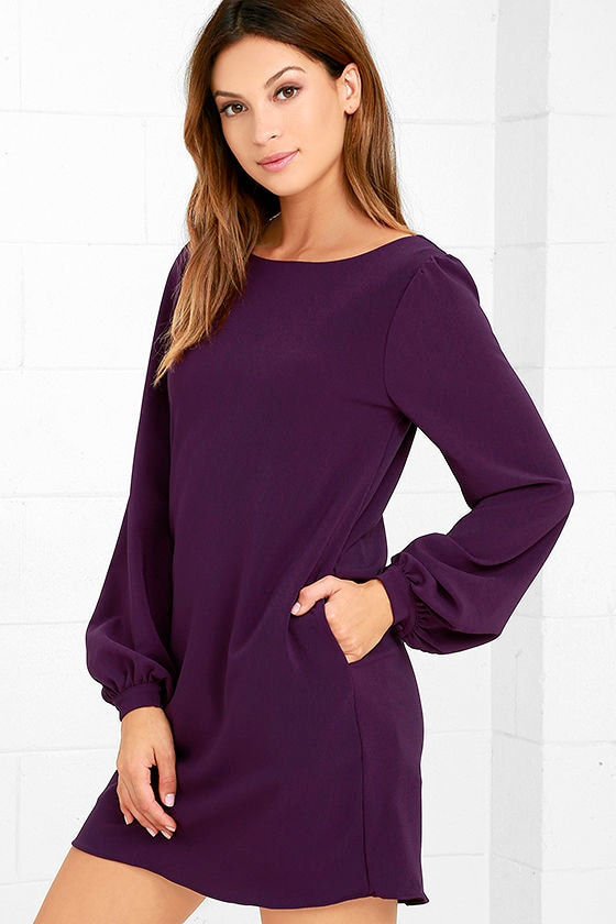 Cute Purple Dress - Shift Dress - Long Sleeve Dress - $38.00