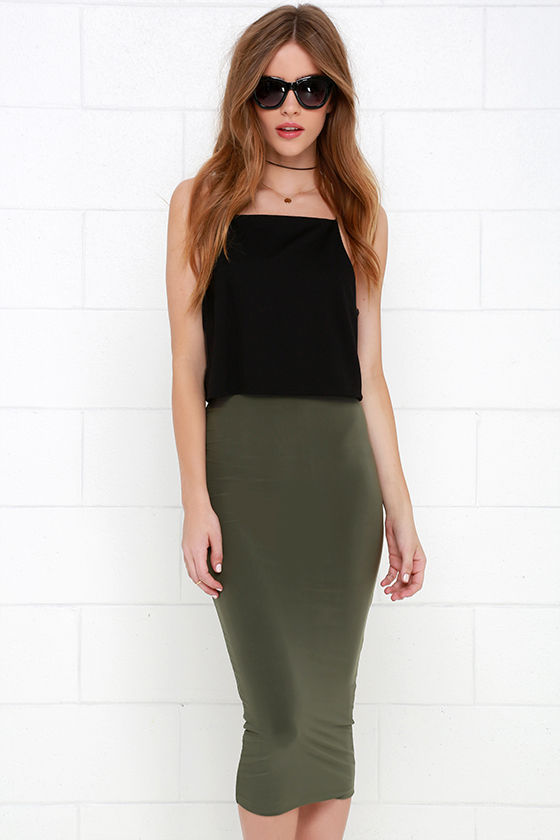 Chic Olive Green Skirt - Midi Skirt - Pencil Skirt - $38.00