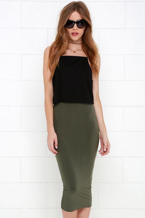 Cover the Basics Olive Green Midi Skirt