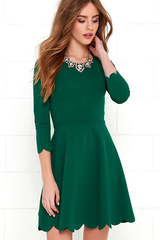 Skater Dress - Long Sleeve Dress - Fit-and-Flare Dress ...