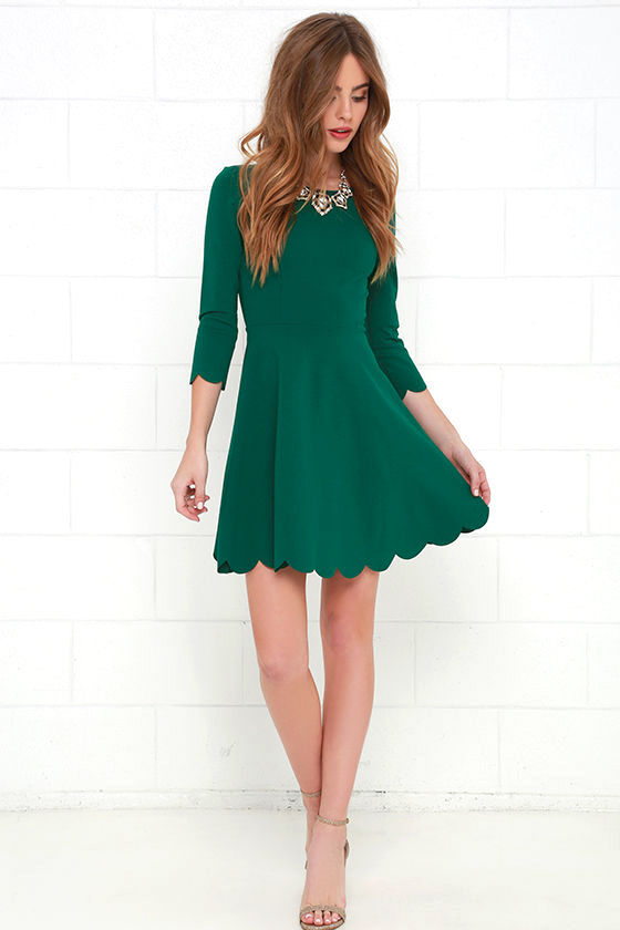 Dark Green Fit And Flare Dress Shoes