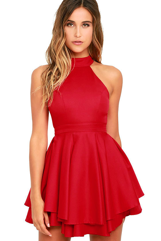 Cute Red Skater Dress - Red Homecoming Dress - $59.00