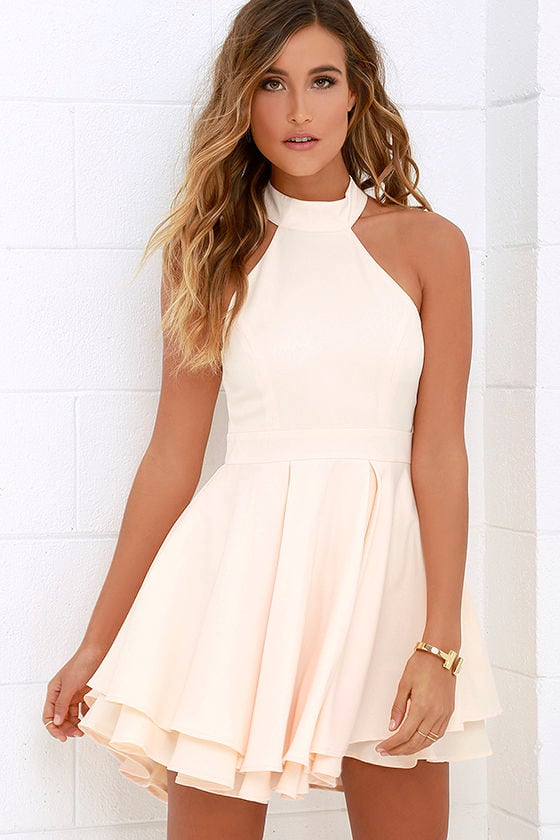 Cute Peach Skater Dress - Peach Homecoming Dress - $59.00