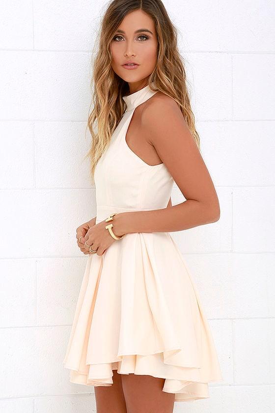 Cute Peach Skater Dress - Peach Homecoming Dress - $59.00