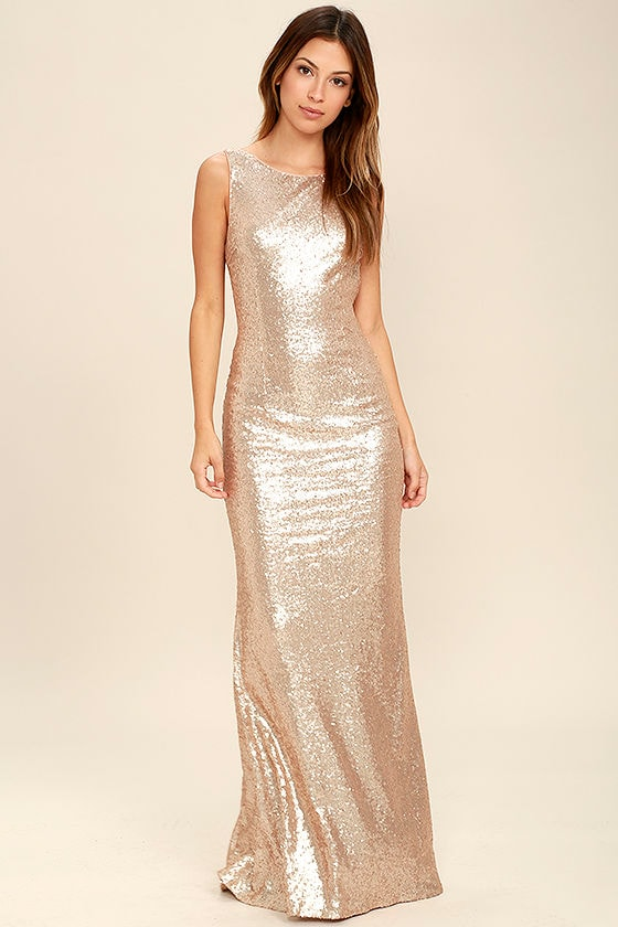 Slink and Wink Matte Rose Gold Sequin Maxi Dress 2