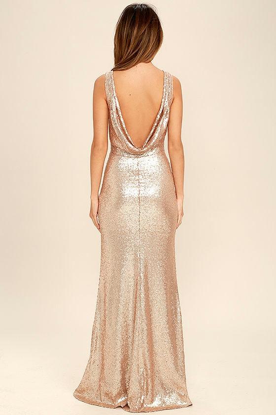 Slink and Wink Matte Rose Gold Sequin Maxi Dress 4