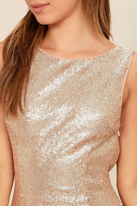 Slink and Wink Matte Rose Gold Sequin Maxi Dress 5