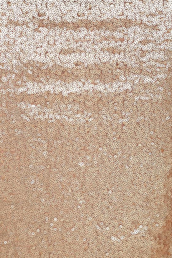 Slink and Wink Matte Rose Gold Sequin Maxi Dress 6