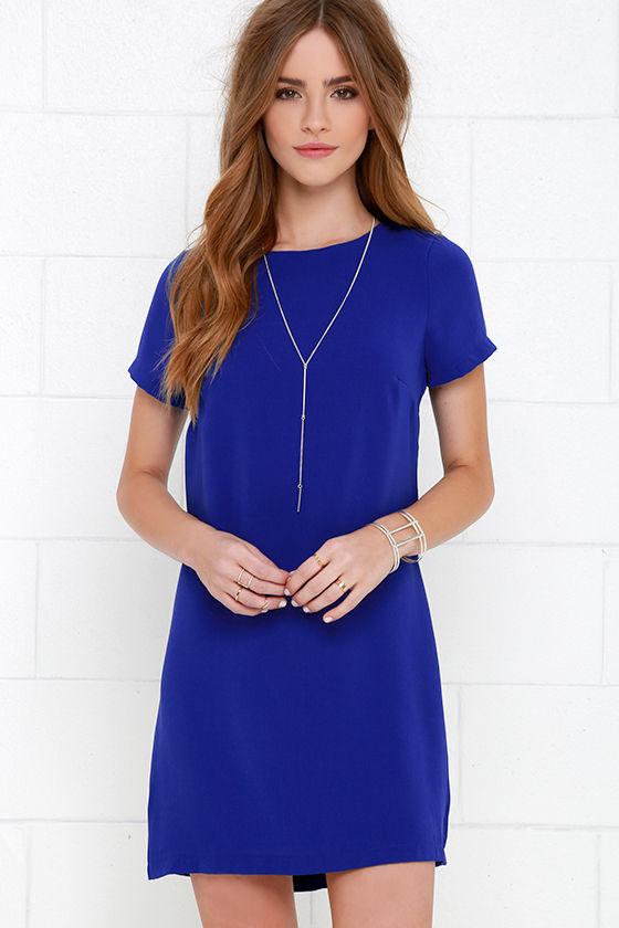 Chic Royal Blue Dress Shift Dress Short Sleeve Dress