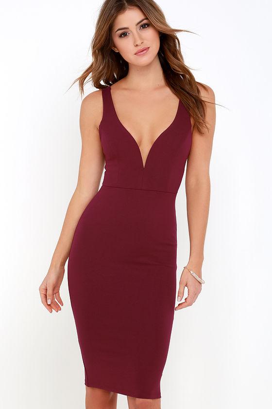Sexy Burgundy Dress Midi Dress Bodycon Dress 45 00