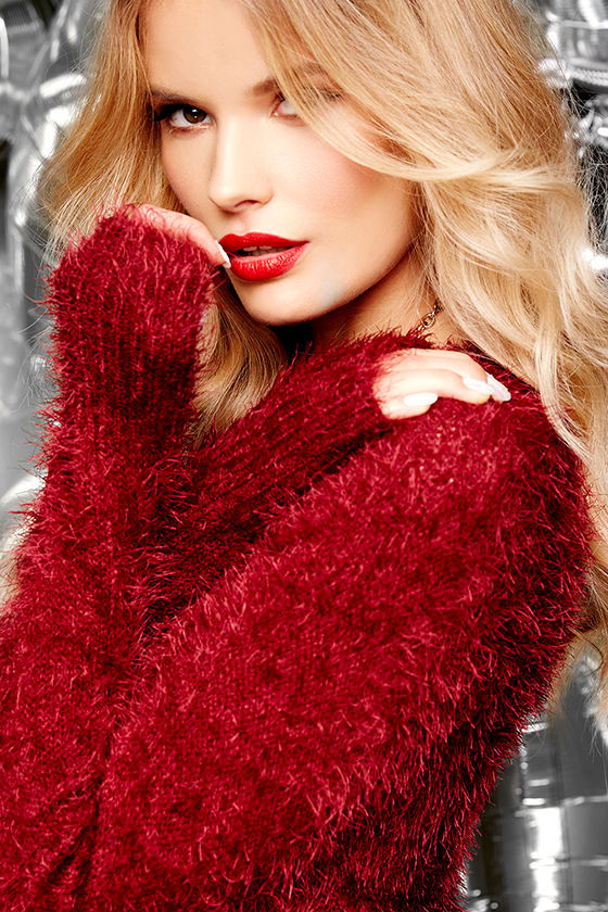 585197a2c5a44 Cute Wine Red Sweater - Fuzzy Sweater - Cropped Sweater -  59.95