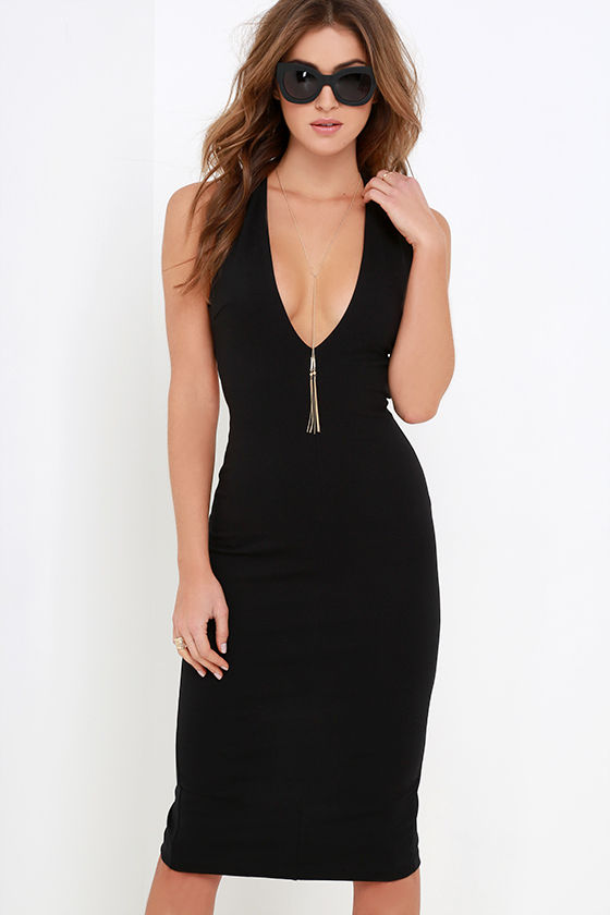 Betwixt and Between Black Backless Midi Dress at Lulus.com!