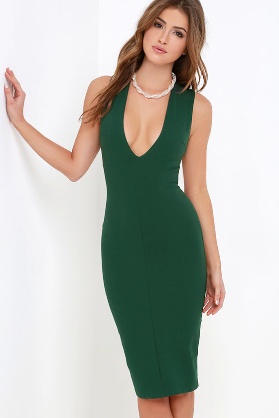 Dark Green Dress Bodycon Dress Midi Dress Backless