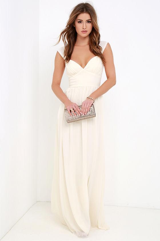 b8b762d0c81aa7 Cream Gown - Chiffon Dress - Maxi Dress - $72.00
