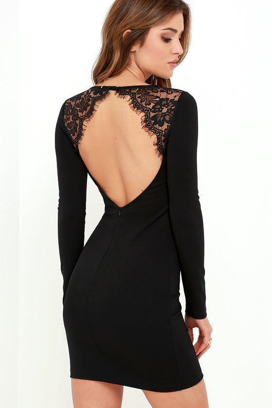 Black Lace Dress - Bodycon Dress - Long Sleeve Dress - $54.00