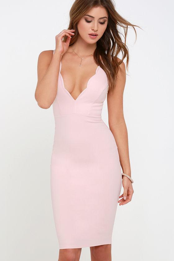 e9efe6d02aae Light Pink Dress - Midi Dress - Bodycon Dress -  48.00