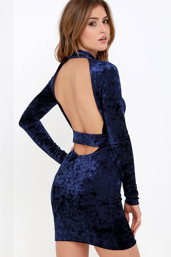 Velvet Navy Blue Dress - Bodycon Dress - Long Sleeve Dress ...